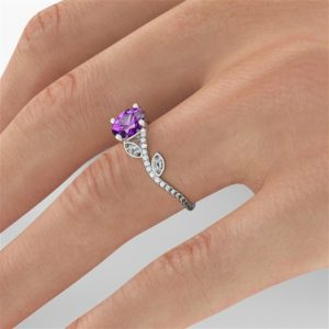 Shop Amethyst Rings! Vine Amethyst Engagement Ring, 14K White Gold Ring, Vine Ring, 1.00 TCW Amethyst Ring Vintage, Art Deco Jewelry, Amethyst Rings | Natural genuine Amethyst rings, simple unique alternative gemstone engagement rings. #rings #jewelry #bridal #wedding #jewelryaccessories #engagementrings #weddingideas #affiliate #ad