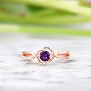 Shop Amethyst Rings! Vintage Amethyst engagement ring antique diamond rose gold Unique wedding women handmade Jewelry birthstone Anniversary gift for her | Natural genuine Amethyst rings, simple unique alternative gemstone engagement rings. #rings #jewelry #bridal #wedding #jewelryaccessories #engagementrings #weddingideas #affiliate #ad