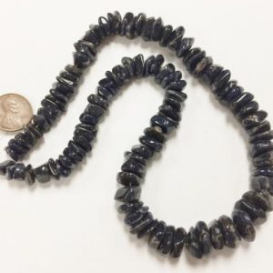 "Shop Aventurine Chip & Nugget Beads! Vintage Genuine Dark Blue Aventurine Gemstone Graduated Large Smooth Nugget Beaded 16"" Strand 128 