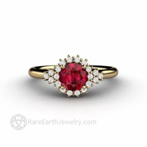 Vintage Inspired Ruby Engagement Ring, Round Cut Ruby Ring with Diamond Halo, July Birthstone Red Gemstone | Natural genuine Array rings, simple unique alternative gemstone engagement rings. #rings #jewelry #bridal #wedding #jewelryaccessories #engagementrings #weddingideas #affiliate #ad