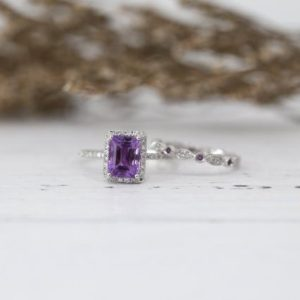 VS 6*8MM Emerald Cut Amethyst Engagement Ring Set Art Deco Full Eternity Diamonds Wedding Ring 14K White Gold Bridal Set Birthstone Ring Set | Natural genuine Array rings, simple unique alternative gemstone engagement rings. #rings #jewelry #bridal #wedding #jewelryaccessories #engagementrings #weddingideas #affiliate #ad