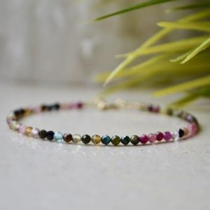 Shop Watermelon Tourmaline Bracelets! Watermelon Tourmaline bracelet – bracelet femme, multicolor gemstone bracelet, rainbow tourmaline bracelet for woman, October Birthstone | Natural genuine Watermelon Tourmaline bracelets. Buy crystal jewelry, handmade handcrafted artisan jewelry for women.  Unique handmade gift ideas. #jewelry #beadedbracelets #beadedjewelry #gift #shopping #handmadejewelry #fashion #style #product #bracelets #affiliate #ad