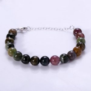 Shop Watermelon Tourmaline Bracelets! Watermelon Tourmaline Bracelet Natural Multi Tourmaline Round Beads Bracelet Gift For Her Christmas Gift Birthday Gift Genuine Tourmaline | Natural genuine Watermelon Tourmaline bracelets. Buy crystal jewelry, handmade handcrafted artisan jewelry for women.  Unique handmade gift ideas. #jewelry #beadedbracelets #beadedjewelry #gift #shopping #handmadejewelry #fashion #style #product #bracelets #affiliate #ad