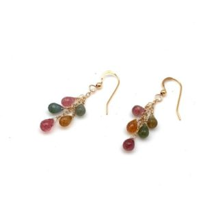 Shop Watermelon Tourmaline Earrings! Watermelon Tourmaline Earrings // Tourmaline Gold // Pink Tourmaline // Green Tourmaline // Tourmaline Drop Earrings | Natural genuine Watermelon Tourmaline earrings. Buy crystal jewelry, handmade handcrafted artisan jewelry for women.  Unique handmade gift ideas. #jewelry #beadedearrings #beadedjewelry #gift #shopping #handmadejewelry #fashion #style #product #earrings #affiliate #ad