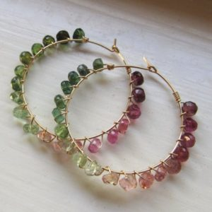 Shop Watermelon Tourmaline Jewelry! Watermelon tourmaline earrings October birthstone hoops gold ombre gradient multi large hoops pink white green | Natural genuine Watermelon Tourmaline jewelry. Buy crystal jewelry, handmade handcrafted artisan jewelry for women.  Unique handmade gift ideas. #jewelry #beadedjewelry #beadedjewelry #gift #shopping #handmadejewelry #fashion #style #product #jewelry #affiliate #ad