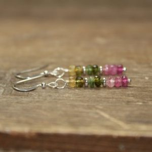 Watermelon Tourmaline Earrings, Sterling Silver or Gold Filled, Tourmaline Jewelry, October Birthstone | Natural genuine Gemstone earrings. Buy crystal jewelry, handmade handcrafted artisan jewelry for women.  Unique handmade gift ideas. #jewelry #beadedearrings #beadedjewelry #gift #shopping #handmadejewelry #fashion #style #product #earrings #affiliate #ad