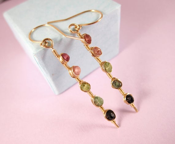 Watermelon Tourmaline Earrings-wire Wrapped Tourmaline Earrings-colorful Gemstone Earrings-holiday Gift For Her-14k Gold Rose Gold Filled