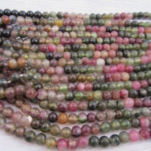 Shop Watermelon Tourmaline Beads! Watermelon Tourmaline, multi color Tourmaline, smooth round beads, full hole, natural Tourmaline, High quality, size 5.00mm, 1 strand | Natural genuine round Watermelon Tourmaline beads for beading and jewelry making.  #jewelry #beads #beadedjewelry #diyjewelry #jewelrymaking #beadstore #beading #affiliate #ad