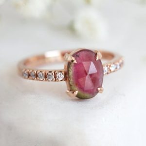 Shop Watermelon Tourmaline Rings! Watermelon Tourmaline Ring, Tourmaline Diamond Ring Ready To Ship | Natural genuine Watermelon Tourmaline rings, simple unique handcrafted gemstone rings. #rings #jewelry #shopping #gift #handmade #fashion #style #affiliate #ad