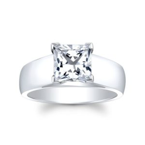 White sapphire engagement ring Cathedral 14k white gold with 1 carat Princess White Sapphire Center | Natural genuine Array rings, simple unique alternative gemstone engagement rings. #rings #jewelry #bridal #wedding #jewelryaccessories #engagementrings #weddingideas #affiliate #ad