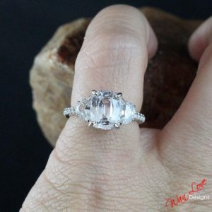 White Sapphire Engagement Ring-Elongated Cushion-Half Moon-3 Gem Stone-4ct-10x8mm-14k White Gold-Wedding-Custom-Anniversary-Ready to ship | Natural genuine Array rings, simple unique alternative gemstone engagement rings. #rings #jewelry #bridal #wedding #jewelryaccessories #engagementrings #weddingideas #affiliate #ad