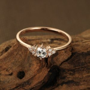 White sapphire engagement ring rose gold Unique engagement ring vintage ring for women Diamond cluster ring dainty wedding Anniversary gift | Natural genuine Sapphire rings, simple unique alternative gemstone engagement rings. #rings #jewelry #bridal #wedding #jewelryaccessories #engagementrings #weddingideas #affiliate #ad