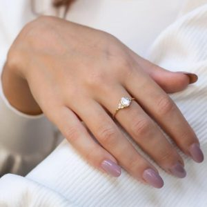 Shop Sapphire Rings! White sapphire ring, White sapphire and Diamond ring, engagement ring, unique ring, unique engagement, White sapphire engagement ring | Natural genuine Sapphire rings, simple unique alternative gemstone engagement rings. #rings #jewelry #bridal #wedding #jewelryaccessories #engagementrings #weddingideas #affiliate #ad
