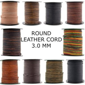 Shop Cord! Xsotica-Round Leather Cord – 3.0 MM Round Leather Cords 3MM | Shop jewelry making and beading supplies, tools & findings for DIY jewelry making and crafts. #jewelrymaking #diyjewelry #jewelrycrafts #jewelrysupplies #beading #affiliate #ad