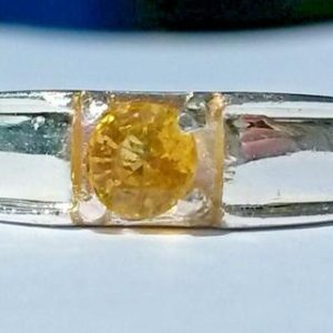 Shop Yellow Sapphire Rings! Natural yellow Sapphire solitaire ring UK size L   Natural genuine Yellow Sapphire rings, simple unique handcrafted gemstone rings. #rings #jewelry #shopping #gift #handmade #fashion #style #affiliate #ad