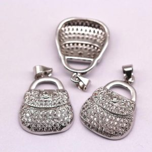 Shop Zircon Pendants! Silver Plated Micro Pave Zircon Bag Shape Pendant Charm Sale by Piece | Natural genuine Zircon pendants. Buy crystal jewelry, handmade handcrafted artisan jewelry for women.  Unique handmade gift ideas. #jewelry #beadedpendants #beadedjewelry #gift #shopping #handmadejewelry #fashion #style #product #pendants #affiliate #ad