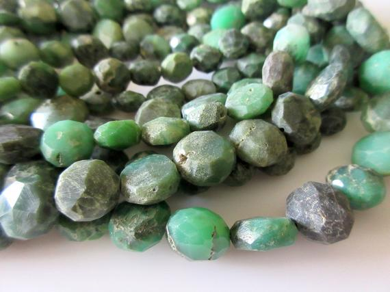 9mm Chrysoprase Faceted Button Beads, Raw Looking Chrysoprase Flat Coin Rondelles, 13 Inch Strand, Gds10