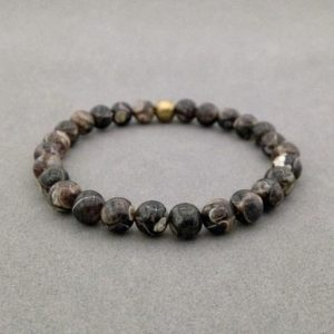 Shop Earth Stone Bracelets! Turritella Agate Stretch Bead Bracelet with Brass Accent Bead | Natural genuine Mookaite Jasper bracelets. Buy crystal jewelry, handmade handcrafted artisan jewelry for women.  Unique handmade gift ideas. #jewelry #beadedbracelets #beadedjewelry #gift #shopping #handmadejewelry #fashion #style #product #bracelets #affiliate #ad