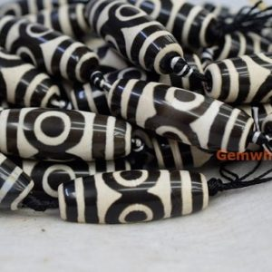 "Shop Agate Bead Shapes! 14"" 13~14x40mm Black white Bulk tibetan Dzi barrel/drum beads with eye, Dzi agate rice/oval beads, DZI drum beads, DZI oliver beads, ZGYG 