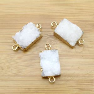 Shop Agate Bead Shapes! Hot sale Druzy Geode Slice Beads Pendants,White Drusy Agate Titanium Natural Stones Connectors Beading Necklace–Drusy Pendant-TR-028 | Natural genuine other-shape Agate beads for beading and jewelry making.  #jewelry #beads #beadedjewelry #diyjewelry #jewelrymaking #beadstore #beading #affiliate #ad