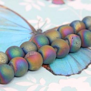 Shop Agate Bead Shapes! Titanium Rainbow Druzy Matte Agate Beads  8 & 10mm  Drusy Agate Beads Rainbow Gemstone Beads / Jewellery Beads/ Multi Coloured Beads 2 BEADS | Natural genuine other-shape Agate beads for beading and jewelry making.  #jewelry #beads #beadedjewelry #diyjewelry #jewelrymaking #beadstore #beading #affiliate #ad