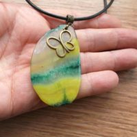 Agate Pendant Necklace With Butterfly. Yellow-green Agate Pendant Double Sided. Pendant Stones. Gift For Women For Her. Gift For Girls. | Natural genuine Gemstone jewelry. Buy crystal jewelry, handmade handcrafted artisan jewelry for women.  Unique handmade gift ideas. #jewelry #beadedjewelry #beadedjewelry #gift #shopping #handmadejewelry #fashion #style #product #jewelry #affiliate #ad