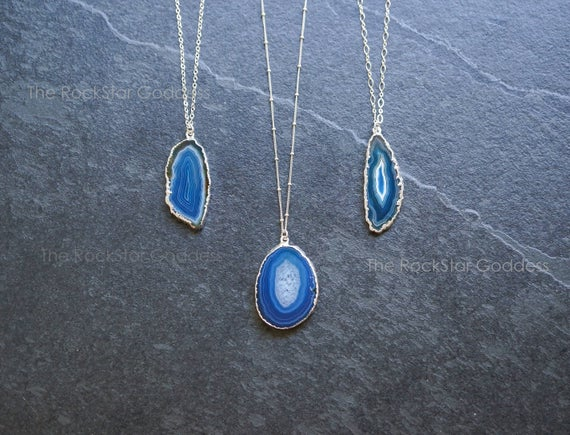 Agate Necklace / Silver Druzy Necklace / Geode Necklace / Druze Necklace / Agate Pendant / Agate Jewelry