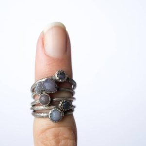 Shop Agate Rings! Grape Agate Ring | Raw Grape Agate Ring | Copper And Natural Agate Jewelry | Raw Stone Ring | Rough Grape Agate Jewelry | Raw Mineral Ring | Natural genuine Agate rings, simple unique handcrafted gemstone rings. #rings #jewelry #shopping #gift #handmade #fashion #style #affiliate #ad