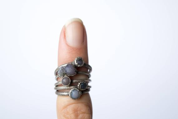 Grape Agate Ring | Raw Grape Agate Ring | Copper And Natural Agate Jewelry | Raw Stone Ring | Rough Grape Agate Jewelry | Raw Mineral Ring