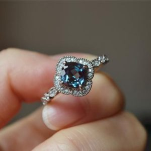 Cushion Alexandrite Ring Alexandrite Engagement Ring Wedding Ring Anniversary Ring Promise Ring | Natural genuine Gemstone rings, simple unique alternative gemstone engagement rings. #rings #jewelry #bridal #wedding #jewelryaccessories #engagementrings #weddingideas #affiliate #ad