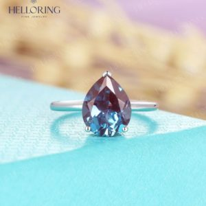 Shop Alexandrite Rings! Pear shaped white gold Alexandrite Engagement ring,8*10mm rings for , solitaire engagement ring,simple bridal ,Anniversary s   Natural genuine Alexandrite rings, simple unique alternative gemstone engagement rings. #rings #jewelry #bridal #wedding #jewelryaccessories #engagementrings #weddingideas #affiliate #ad