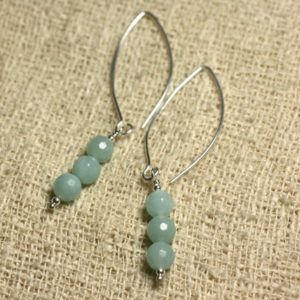Shop Amazonite Earrings! Sterling Silver 925 hooks 40mm – 6mm faceted Amazonite earrings | Natural genuine Amazonite earrings. Buy crystal jewelry, handmade handcrafted artisan jewelry for women.  Unique handmade gift ideas. #jewelry #beadedearrings #beadedjewelry #gift #shopping #handmadejewelry #fashion #style #product #earrings #affiliate #ad