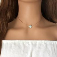 Amazonite Choker Necklace, 14k Rose Gold Filled, Dainty Necklace | Natural genuine Gemstone jewelry. Buy crystal jewelry, handmade handcrafted artisan jewelry for women.  Unique handmade gift ideas. #jewelry #beadedjewelry #beadedjewelry #gift #shopping #handmadejewelry #fashion #style #product #jewelry #affiliate #ad