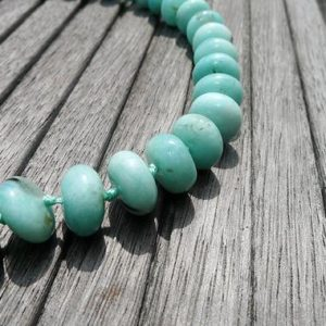 Shop Amazonite Necklaces! Amazonite Rondelle Beads 12.5-14.5mm (etb00775) Peruvian Gemstone / unique Jewelry / vintage Jewelry / gemstone Necklace | Natural genuine Amazonite necklaces. Buy crystal jewelry, handmade handcrafted artisan jewelry for women.  Unique handmade gift ideas. #jewelry #beadednecklaces #beadedjewelry #gift #shopping #handmadejewelry #fashion #style #product #necklaces #affiliate #ad
