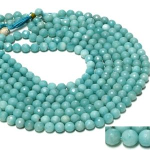 "Shop Amazonite Necklaces! Amazonite Round Beads, natural Beads, gemstone Beads, semiprecious Beads, amazonite Beads, beaded Necklace, knotted Necklaces – 16"" Strand 