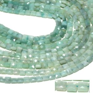 "Natural amazonite,faceted square beads,square beads,gemstone beads,faceted beads,loose beads,loose gemstones – 16"" Full Strand 