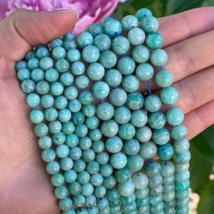Shop Raw & Rough Amazonite Stones! Blue Amazonite Beads – Polished Amazonite Beads – 15in Strand 6mm 8mm Gemstone Bead – Raw Gemstone Strand – Amazonite Gemstone Bead | Natural genuine stones & crystals in various shapes & sizes. Buy raw cut, tumbled, or polished gemstones for making jewelry or crystal healing energy vibration raising reiki stones. #crystals #gemstones #crystalhealing #crystalsandgemstones #energyhealing #affiliate #ad