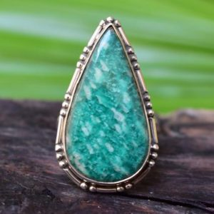 Shop Amazonite Rings! 925 Silver Natural Amazonite Ring-green Amazonite Ring-amazonite Ring-design Ring-amazonite Gemstone Ring | Natural genuine Amazonite rings, simple unique handcrafted gemstone rings. #rings #jewelry #shopping #gift #handmade #fashion #style #affiliate #ad