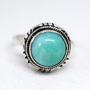 Shop Amazonite Rings! Amazonite Ring, natural Amazonite Handmade Ring, solid 925 Sterling Silver Ring, aqua Statement Ring Amazonite Birthstone Ring, gift Ring | Natural genuine Amazonite rings, simple unique handcrafted gemstone rings. #rings #jewelry #shopping #gift #handmade #fashion #style #affiliate #ad