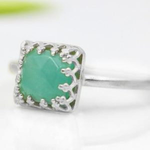Shop Amazonite Rings! Square amazonite ring,gemstone ring,silver ring,stacking ring,bridal ring,engagement ring,semiprecious ring,thin stone ring | Natural genuine Amazonite rings, simple unique alternative gemstone engagement rings. #rings #jewelry #bridal #wedding #jewelryaccessories #engagementrings #weddingideas #affiliate #ad