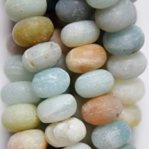 "Shop Amazonite Rondelle Beads! Genuine Matte Amazonite Rondelle Beads – 8 X 5 Mm Gemstone Beads – Full Strand 16"", 75 Beads, A Quality 