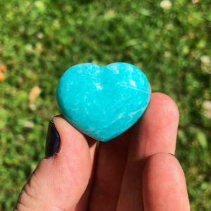 "Shop Amazonite Shapes! Amazonite crystal heart 1"" – 1.25"" (jewelry grade) – amazonite heart – healing crystals – amazonite stone heart – amazonite carved heart 