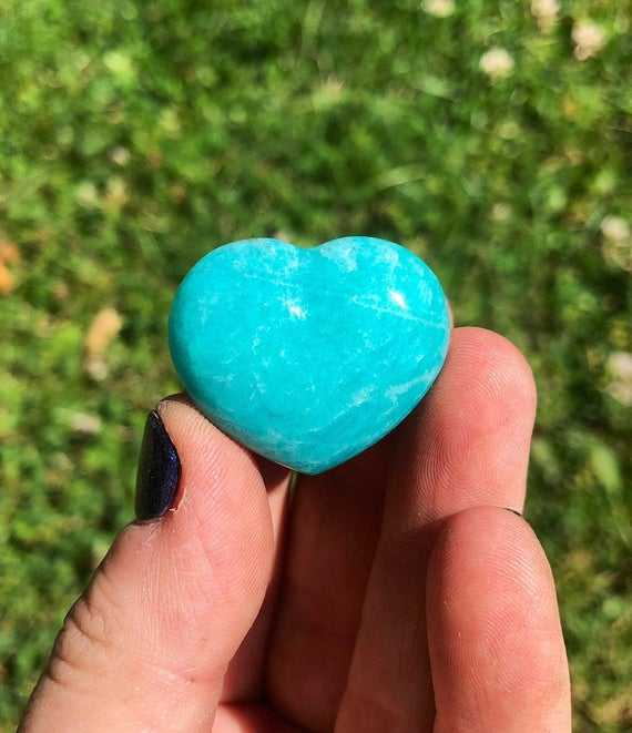"""Amazonite Crystal Heart 1"""" - 1.25"""" (jewelry Grade) - Amazonite Heart - Healing Crystals - Amazonite Stone Heart - Amazonite Carved Heart"""