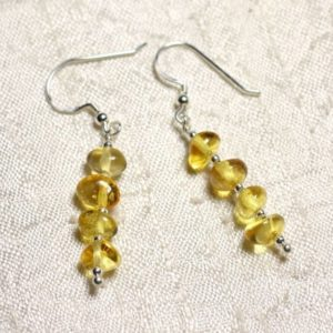 Shop Amber Earrings! Earrings Silver 925 and amber Rondelles 6-7mm natural honey | Natural genuine Amber earrings. Buy crystal jewelry, handmade handcrafted artisan jewelry for women.  Unique handmade gift ideas. #jewelry #beadedearrings #beadedjewelry #gift #shopping #handmadejewelry #fashion #style #product #earrings #affiliate #ad
