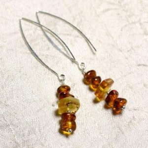 Shop Amber Earrings! Earrings Silver 925 long hooks and amber natural 7-10mm | Natural genuine Amber earrings. Buy crystal jewelry, handmade handcrafted artisan jewelry for women.  Unique handmade gift ideas. #jewelry #beadedearrings #beadedjewelry #gift #shopping #handmadejewelry #fashion #style #product #earrings #affiliate #ad