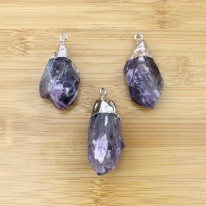 Shop Amethyst Chip & Nugget Beads! Large Freeform Amethyst Nugget Point Pendant, Purple Crystal Quartz Nugget Pendant,Rough Nugget Charm,Raw Stone Pendant -TR106 | Natural genuine chip Amethyst beads for beading and jewelry making.  #jewelry #beads #beadedjewelry #diyjewelry #jewelrymaking #beadstore #beading #affiliate #ad