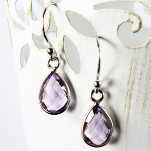 Shop Amethyst Earrings! Amethyst Sterling Silver Earrings natural purple gemstone small delicate dangle drops February birthstone birthday gift for her women 2627 | Natural genuine Amethyst earrings. Buy crystal jewelry, handmade handcrafted artisan jewelry for women.  Unique handmade gift ideas. #jewelry #beadedearrings #beadedjewelry #gift #shopping #handmadejewelry #fashion #style #product #earrings #affiliate #ad