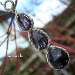 Shop Amethyst Necklaces! Moss Amethyst briolette, sterling silver coil wrap necklace | Natural genuine Amethyst necklaces. Buy crystal jewelry, handmade handcrafted artisan jewelry for women.  Unique handmade gift ideas. #jewelry #beadednecklaces #beadedjewelry #gift #shopping #handmadejewelry #fashion #style #product #necklaces #affiliate #ad