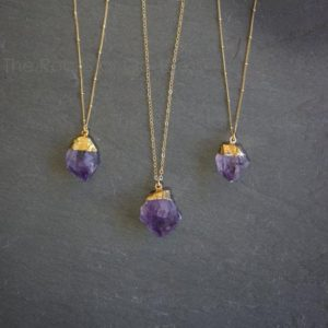 Amethyst Necklace / Raw Amethyst Necklace / Gold Amethyst Necklace / Amethyst Jewelry / February Birthstone / Mothers Day Gift | Natural genuine Amethyst necklaces. Buy crystal jewelry, handmade handcrafted artisan jewelry for women.  Unique handmade gift ideas. #jewelry #beadednecklaces #beadedjewelry #gift #shopping #handmadejewelry #fashion #style #product #necklaces #affiliate #ad