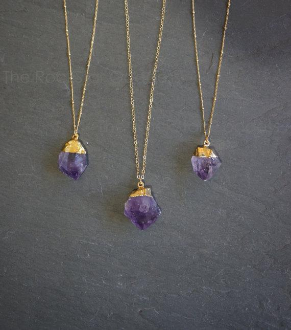 Amethyst Necklace / Raw Amethyst Necklace / Gold Amethyst Necklace / Amethyst Jewelry / February Birthstone